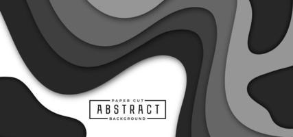 bannière horizontale de style papier découpé noir et gris
