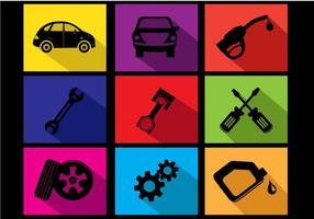 Vecteurs d'icônes de changement d'huile de voiture plate
