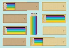 Boîtes à crayons en bois vecteur