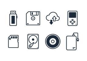 Vecteurs d'icônes de ligne de pilote numérique