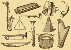 Old Style Drawing Instruments de musique vecteur