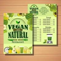 menu du restaurant végétarien vecteur