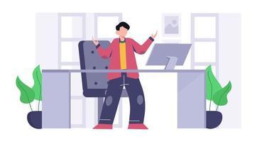 confiant, jeune homme, debout, dans dos, créatif, espace travail, table