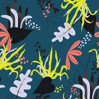 motif de feuilles et de fleurs de doodle