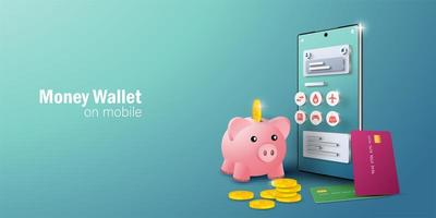 Application de portefeuille électronique sur smartphone mobile pour les transactions et la facturation en ligne vecteur