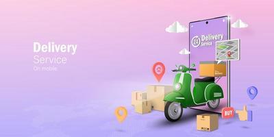 transpotation ou livraison de nourriture en scooter vecteur