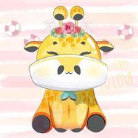 girafe heureuse avec couronne de fleurs