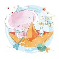 éléphant et lapin en bateau en papier
