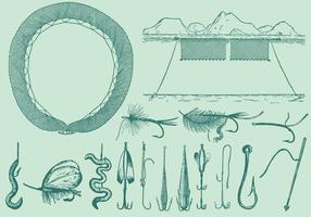 Vecteurs d'outils de pêche vecteur