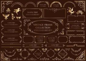 ensemble de cadre vintage de style luxe or isolé sur fond sombre
