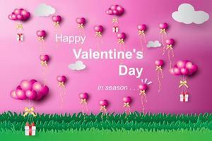 conception de papier et de ballon découpés de voeux de la saint valentin