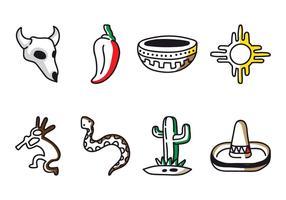 Vecteurs d'icônes doodle do sud-ouest