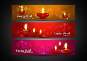 En-têtes Colorful Diwali vecteur