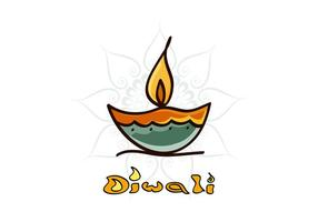 Diwali Diya Avec Rangoli vecteur