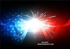 4 juillet Carte de la Journée de l'Indépendance avec feu d'artifice vecteur