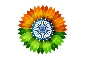 Drapeau indien floral avec roue Asoka vecteur