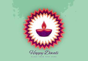 Lampe à huile Diwali sur le beau Rangoli vecteur