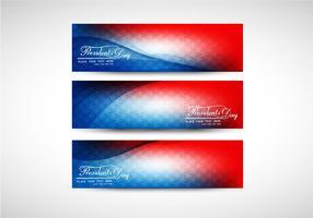 Trois bannière colorée du président Day vecteur
