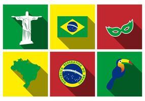 Vecteur libre d'ensemble d'icône plat du Brésil