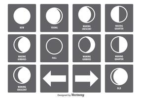 Ensemble d'icônes de la phase de la lune vecteur
