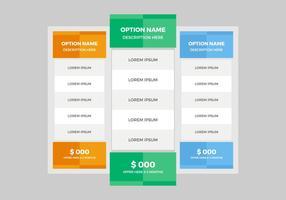 Vector de table de tarification gratuite