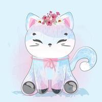 chat avec couronne de fleurs