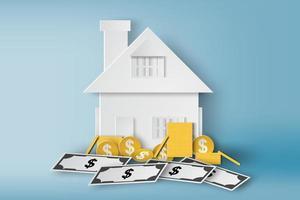 maison de papier avec pièces de monnaie et billets d'un dollar