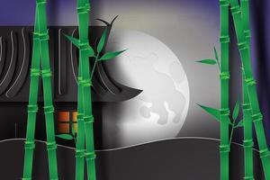maison japonaise avec lune et bambou