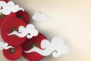parapluies japonais rouges avec des nuages design papier art vecteur