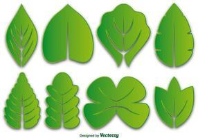 Ensemble d'icônes vectorielles de feuilles vertes vecteur