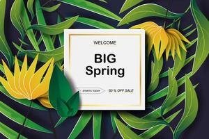 bannière tropicale de papier découpé promotionnel de printemps