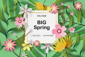 bannière de vente de printemps art papier en couches