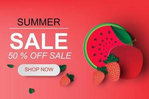 bannière de vente d'été avec des fruits