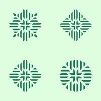 Logo de jeu de motifs floraux géométriques verts