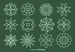 Fleur Ligne icônes vectorielles vecteur