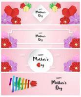 ensemble de dessins pour la fête des mères heureuse