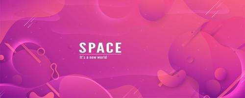 Bannière de formes de dégradé d'espace rose 3d vecteur