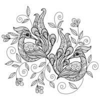 Coloriage de paon vecteur