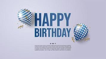 fond bleu joyeux anniversaire vecteur
