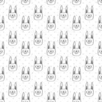 modèle sans couture tête de lapin contour noir