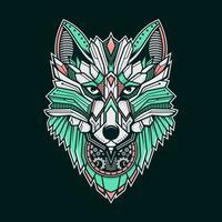 loup en métal géométrique coloré vecteur