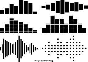 Ensemble vectoriel d'icônes de barres sonores