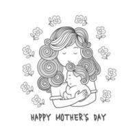 mère avec enfant dessin fête des mères vecteur