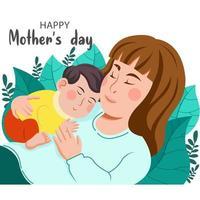 voeux de fête des mères heureux avec la mère tenant l'enfant vecteur