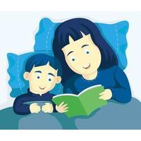 maman et fils lisant ensemble dans son lit vecteur