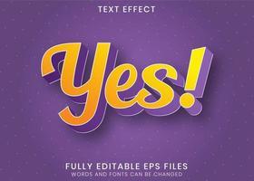 effet de texte jaune violet moderne oui vecteur
