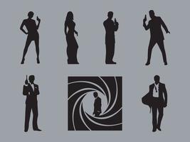 Vecteurs de silhouette de James Bond vecteur