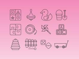 Vecteurs d'icônes de ligne de jeux d'apprentissage