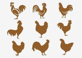 ensemble de silhouettes de poulet vecteur