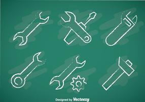 Outils de réparation Chalk Draw Icons vecteur